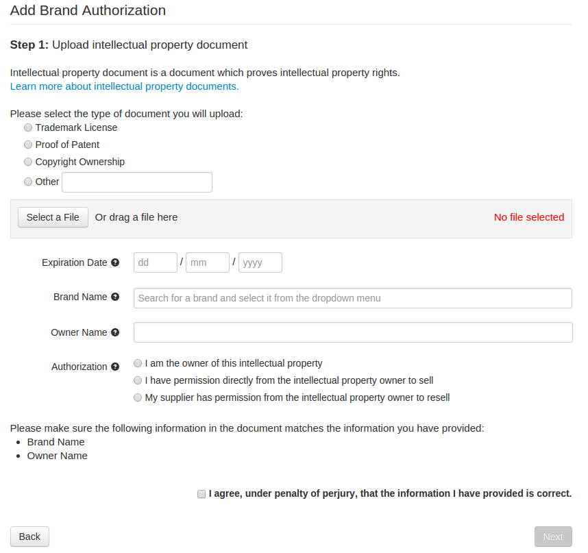 Step By Step Guide To Create A Brand Authorization Wish
