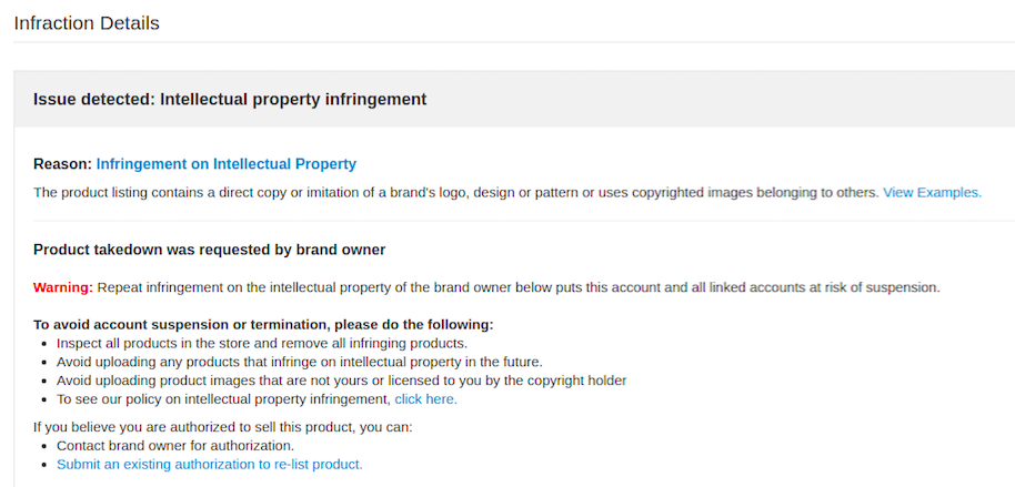 Account Suspension Due To Intellectual Property Infringement Wish