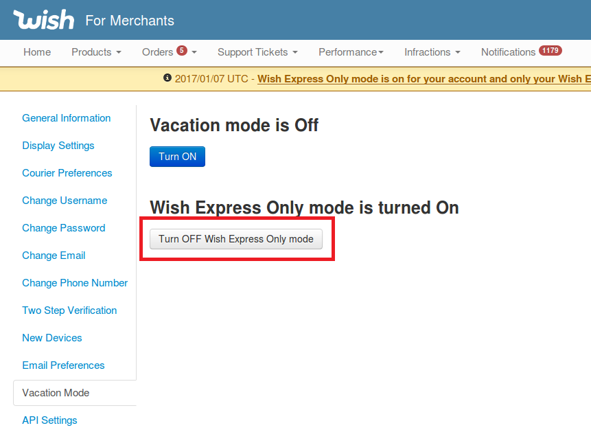 How do I enable Wish Express Only mode? – Wish for Merchants