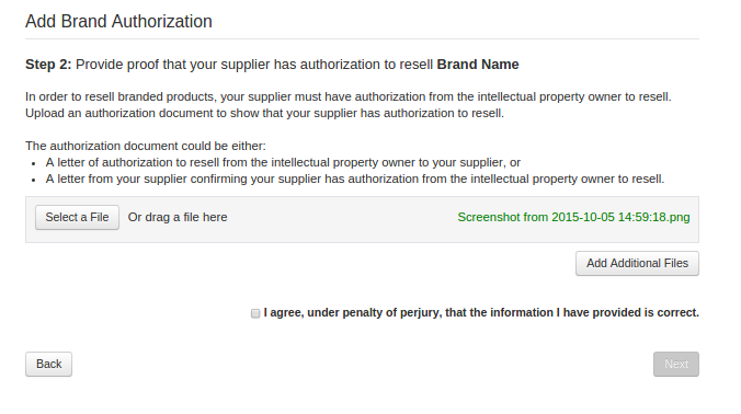 provide proof that your supplier has authorization to resell